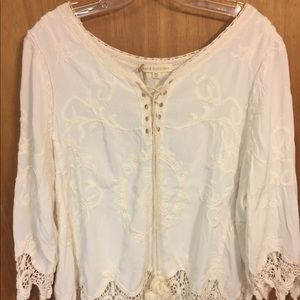 Just in!  Adorable boho blouse with crocheted lace